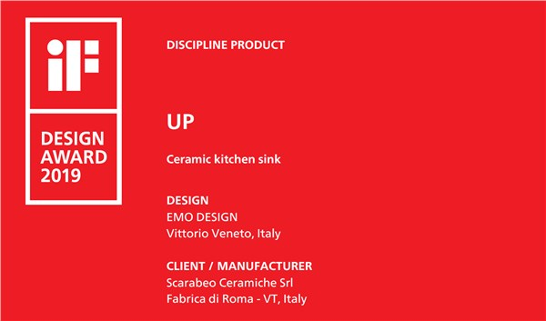 IF Design Award premia UP lavello da cucina di Scarabeo